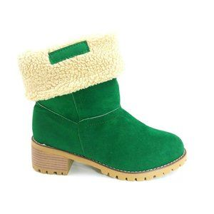Womans Pull On Ankle Boot Green Faux Suede 40 NEW